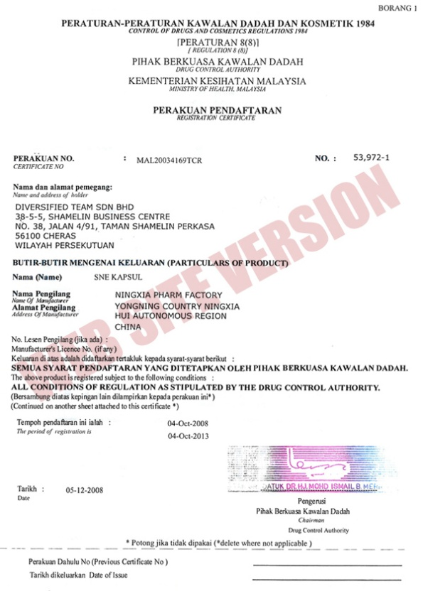 Certificate for SNE Capsule From Ministry of Health Malaysia